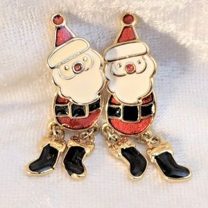 Jewelry - Vintage Santa Earrings Front Back Front-Back Style